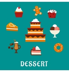 Desserts with cake and confectionery icons vector