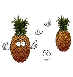 Cartoon yellow ripe pineapple fruit vector