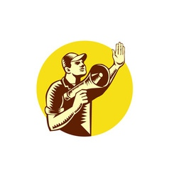 Worker holding megaphone circle woodcut vector