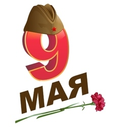 9 May Victory Day Russian lettering greeting text vector image