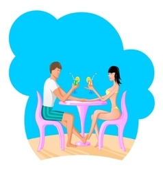 Man and women drinking a coctail vector