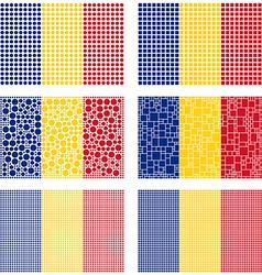 Mosaic romania flag set vector