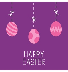 Happy easter hanging painted eggs dash line with vector