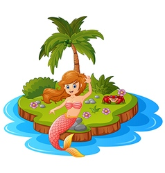 Young mermaid in the island vector