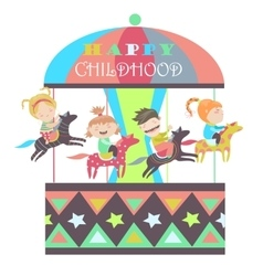 Happy kids riding merry go round vector