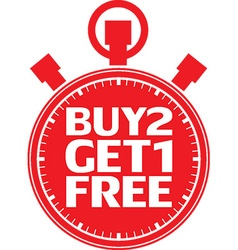Buy 2 get 1 free red stopwatch vector