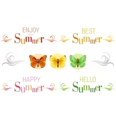 Summer banners with text swirls and butterfly vector