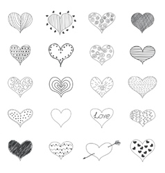 Sketch romantic love hearts retro doodles icons vector