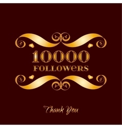 Gold 10000 followers badge over brown vector