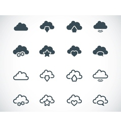 black clouds icons set vector image vector image