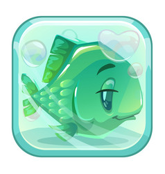 cartoon green fish behind the glass vector image