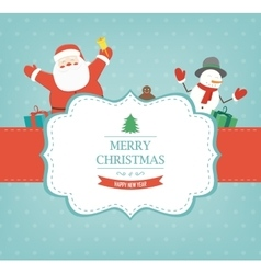 Christmas card with santa claus and snowman vector