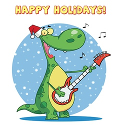 Dinosaur guitar cartoon vector image