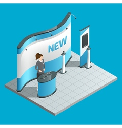 Exhibition isometric stand vector image vector image