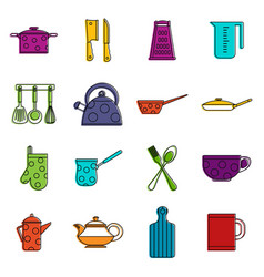 kitchen tools and utensils icons doodle set vector image