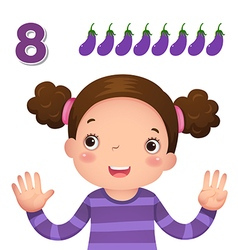 Learn number and counting number eight vector image vector image
