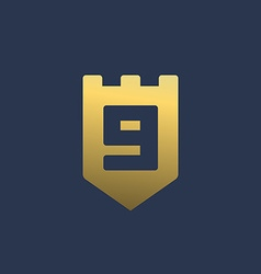 Letter g number 9 shield logo icon design template vector