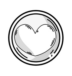 Line heart emblem to love and romantic symbol vector