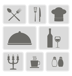 monochrome icons with restaurant symbols vector image