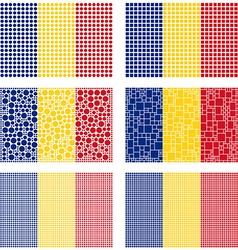 Mosaic romania flag set vector
