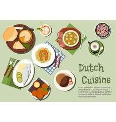 Nutritious dinner of native dutch cuisine icon vector