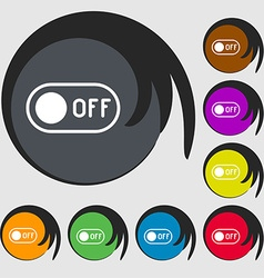 Off icon sign symbols on eight colored buttons vector