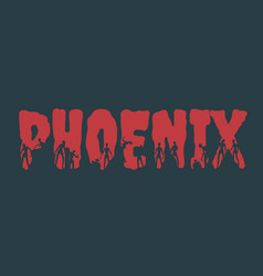 phoenix city name and silhouettes on them vector image