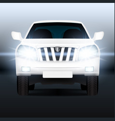 realistic luxury suv car close-up banner template vector image