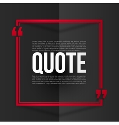 Red quote frame with white placeholder text at vector