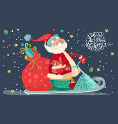 santa claus with red gift bag vector image