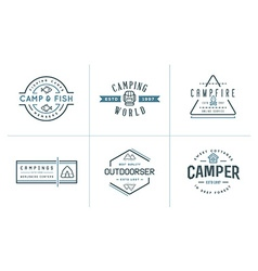 Set of camping camp elements and outdoor activity vector