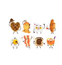 set of funny smiling breakfast characters vector image