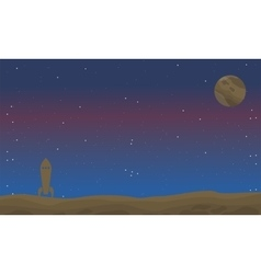 Space with rocket of landscape vector image vector image