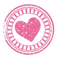 stamp with a heart vector image vector image