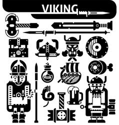 Viking black white icons set vector
