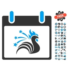 Sparkle rooster calendar day icon with vector