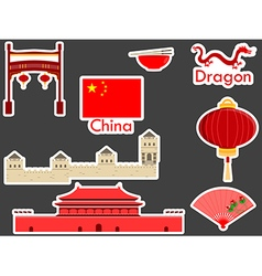 China stickers chinese landmark forbidden city vector