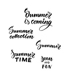 Typographic summer black inscriptions collection vector
