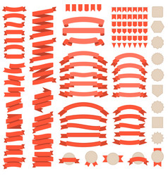 Big set of red ribbons vector