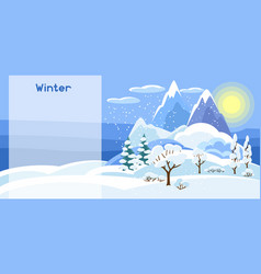 Winter banner with trees mountains and hills vector