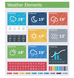 Flat weather app UI elements vector image