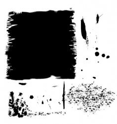 set of black ink spots vector image