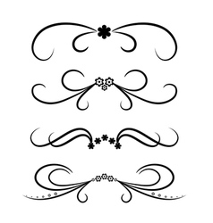 Calligraphic design element set with flowers vector