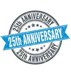 25th anniversary round grunge ribbon stamp vector