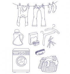 Laundry related icon set vector