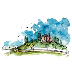 Watercolor of a tuscany hill vector