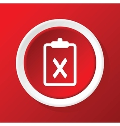 Negative decision icon on red vector