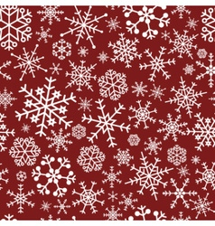 Winter snowflakes dark red and white seamless vector