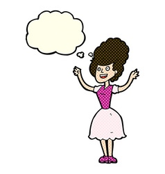 Cartoon happy 1950s woman with thought bubble vector