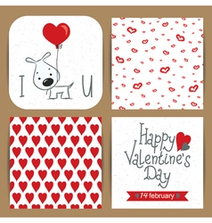 valentines cards set with dog vector image